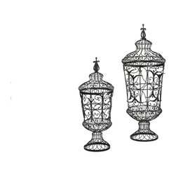 Cyan Design - Cyan Design Brocade Urns (Pack of 2) X-03610 - Those who desire intricate, beautiful details and a unique take will appreciate the look of this pack of two Cyan Design urns. From the Brocade Collection, these urns are done in an open cage-style, with wiry detailing that includes gentle curls and sweeping curves. They are constructed of iron and finished in a beautiful Rust hue.