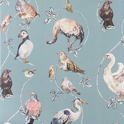 """House of Hackney - Flights of Fancy Wallpaper - Even the name, """"Flights of Fancy,"""" of this digitally printed wallpaper is appealing. With elegantly rendered, but not too serious migratory birds perched on simple branches and set against a moody blue/green background, this pattern from British design label House of Hackney would look as at ease in a powder room as it would on an accent wall in a sophisticated nursery, or on four walls of a cozy guest room"""