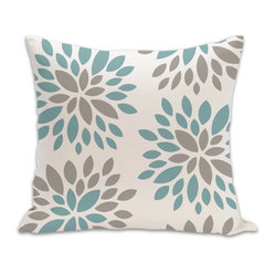 PURE Inspired Design - Dahlia Organic Cotton Fabric 18 x 18 Pillow in Light Teal/Khaki/Natural - Bring a burst of blossoms into the room with tthis organic cotton pillow. A contemporary knife-edge design and bottom zipper give this beautiful decorative pillow a sharp, stylish edge and perfect plumpness potential.