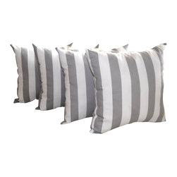 Land of Pillows - Premier Prints Canopy Stripe Storm Gray Indoor Throw Pillows - Set of 4, 16x16 - Fabric Designer - Premier Prints