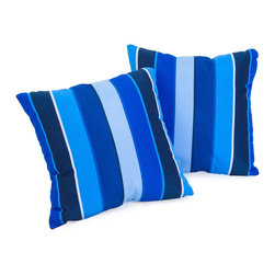 """Best Selling Home Decor - Milano Colbalt Blue Striped 17"""" Sunbrella Pillow (Set of 2) - Accessorize your home with these colorful Summit Furnishings Home Sunbrella pillows. Upholstered in soft fabric, these colorful chic accent pillows are a great option to add flare and comfort to your home. Use them indoors or to accessorize your outdoor seating set. Includes: Two (2) sunbrella pillows; Material: Fabric; Color: Multi-colored, striped; Spot cleaning; Great accent pillow; Dimensions: 17 inches high x 17 inches wide x 4 inches deep."""