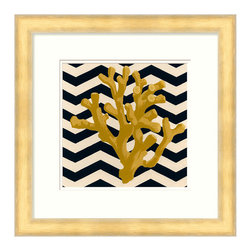 Zig Zag Coral Framed Print - Individual branches of coral are shaded by strokes of paint and silhouetted against an on-trend backdrop of layered chevrons in the Zig Zag Coral Framed Print, an artwork which mixes the classic interest of representative naturalist sketches with the stronger visual cues embodied by pure geometrics. A white mat and light natural frame highlight the work.