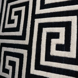 Geometric Pattern Carpet and Rugs - Great looking black and white Greek Key carpet. Available for wall to wall installation, area rugs of any size or stair runners.  Other colors available. Purchase at Hemphill's Rugs & Carpets. www.RugsAndCarpets.com
