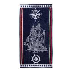 Superior - Superior Collection Luxurious Jacquard Cotton Beach Towel - Ship - Relax and dry off in style with these velour terry cloth beach towels from Superior. This fun design features a white embroidered ship and some creative stripes and star on the borders. Dimensions: 34x64.