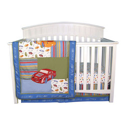 "Trend Lab - NASCAR - 3 Piece Crib Bedding Set - Trend Lab's NASCAR Crib Bedding Collection will bring full-speed racing enthusiasm straight to your nursery! The 3-Piece Crib Bedding Set features race cars and checkered flags, tire dots and tire tread stripes printed in cornflower and sky blue, red hot, mango orange, olive green and charcoal gray. The deep primary color palette and oversized appliques add the perfect combination of trend and excitement to your little rookie's NASCAR nursery! . The quilt measures 32""x 42"" and features revved up race car appliques set against multiple patches including both solids and scatter prints. The cotton prints feature race cars and checkered flags, tire dots and tire tread stripes in rich colors of cornflower blue, sky blue, red hot, mango orange, olive green and charcoal gray. A NASCAR logo print frames the quilt giving it the official NASCAR stamp! Use your quilt as a wall print by taking advantage of the rod pocket featured on the backside of the quilt. Tire dot scatter print sheet features 8"" deep pockets and fits a standard 52"" x 28"" crib mattress. Elastic around the entire opening ensures a more secure fit. Box pleat crib skirt with 12"" drop features the tire tread stripe and tonal blue NASCAR logo print accented with an olive stripe. Complete your child's room with coordinating NASCAR Crib Bumpers and room accessories from the NASCAR collection by Trend Lab. NASCAR is a registered trademark of the National Association for Stock Car Auto Racing, Inc."