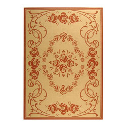 "Safavieh - Courtyard Brown/Red Area Rug CY1893-3201 - 2' x 3'7"" - Safavieh takes classic beauty outside of the home with the launch of their Courtyard Collection. Made in Belgium with enhanced polypropylene for extra durability, these rugs are suitable for anywhere inside or outside of the house. To achieve more intricate and elaborate details in the designs, Safavieh used a specially-developed sisal weave."