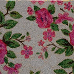 A1 Home Collections - Printed Coir Floral Doormat - Made from 100% coir. This mat features a pretty floral design. The PVC backing provides a non-slip surface. The mat is printed using fade resistant dyes. 100% natural coir helps remove dust and dirt making it an ideal doormat.