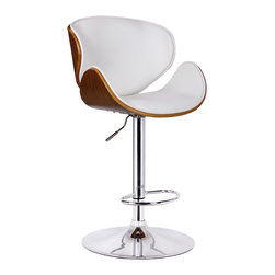 Boraam - Boraam Osa Adjustable Swivel Stool in White - Adjustable Swivel Stool in White in the Osa Collection by Boraam The Osa Adjustable Swivel Stool is a beautiful addition to the Boraam line. The Osa's shape is one of a kind, crafted from Bentwood. This shape offers you complete comfort for hours. Not only does the Osa have a unique design it is adjustable due to its airlift design. This stool has a sturdy chrome base that allows you to spin around 360 degrees! The Osa is a must have for your home. Available in white and black upholstery.