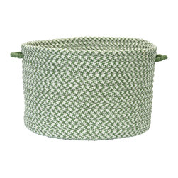 "Colonial Mills, Inc. - Outdoor Houndstooth Tweed, Leaf Green Utility Basket, 18""X12"" - From laundry and pool towels to books and toys, this handled basket helps you hold, hide and haul everything indoors or out. The braided polypropylene is stain and fade resistant in soothing, go-anywhere green and white houndstooth."
