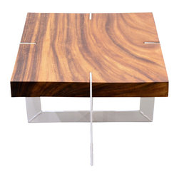 The Pepin Shop - Solid walnut coffee table , Medium - Medium Solid walnut wood of Peru - Metal base