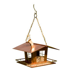 "H Potter - Wacky Copper Bird Feeder - Your songbirds will be singing, ""our house is a very, very, very fine house"" with this feeder in the yard. It's made of copper with shiny brass accents and features mullioned glass windows so you can keep track of the seed levels. There's even a wide porch with railing so your birds will feel right at home."