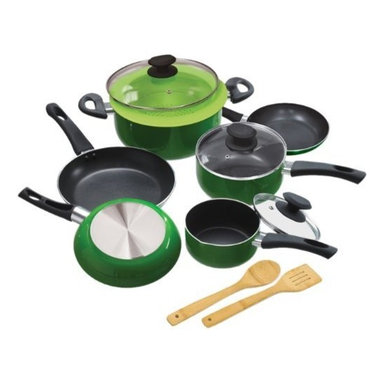 """Epoca - Elements Cookware Set Green - Cook well and Do Good with this Ecolution Eco-Friendly 12 Pc. Elements aluminum Cookware Set. Keep cool handles are comfy to grip and stay cool. Oven safe to 350 degrees F. Pure aluminum insures consistent heating--even heating equals happy eating. Non-stick Hydrolon coating is an ecologically advanced water based coating that is made without PFOA for fewer greenhouse gases. Glass lids let you see what's cooking without letting heat escape. Dishwasher Safe. Set includes: 8"""" Fry Pan 9-1/2"""" Fry Pan 11"""" Fry Pan 1 Qt. Saucepan with Glass Lid 2 Qt. Saucepan with Glass Lid 5 Qt. Dutch Oven with Glass Lid Collapsible Silicone Steamer Bamboo Spoon and Bamboo Spatula."""