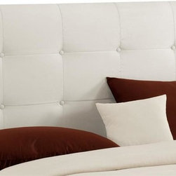 Skyline Furniture - White Microsuede Button Tufted Headboard w Fo - Choose Size: FullAdjustable legs. Plush foam padding. Attaches to standard bed frames. Made from 100% polyester. Made in the USA. Minimal assembly required. Twin: 41 in. L x 4 in. W x 51 in. H (24 lbs.). Full: 56 in. L x 4 in. W x 51 in. H (31 lbs.). Queen: 62 in. L x 4 in. W x 51 in. H (33 lbs.). King: 78 in. L x 4 in. W x 51 in. H (45 lbs.). California king: 74 in. L x 4 in. W x 51 in. H (40 lbs.)Button tufted headboard