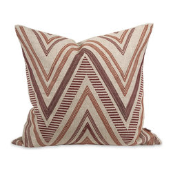 iMax - iMax IK Kamaria Embroidered Pillow w/ Down Insert X-39124 - A funky chevron pattern adds warmth and interest to the Kamaria pillow that features deep red embroidered accents, a natural linen cover and down fill. Designed by Iffat Khan.