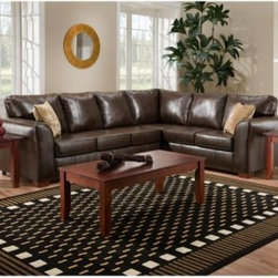 Chelsea Home Tioga 2 Piece Sectional - Bentley Bonded Brown - You'll be instantly bonded to the comfort and style of the Chelsea Home Tioga 2 Piece Sectional - Bentley Bonded Brown. Rich, brown bonded leather gives an upscale finish to the contemporary shape for a look that fills any room with style.About Chelsea Home FurnitureProviding home elegance in upholstery products such as recliners, stationary upholstery, leather, and accent furniture including chairs, chaises, and benches is the most important part of Chelsea Home Furniture's operations. Bringing high quality, classic and traditional designs that remain fresh for generations to customers' homes is no burden, but a love for hospitality and home beauty. The majority of Chelsea Home Furniture's products are made in the USA, while all are sought after throughout the industry and will remain a staple in home furnishings.