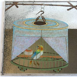 "Dransfield & Ross Bird In Covered Cage Mirror Placemat - These mirrored ""Bird in Covered Cage"" place mats are the ultimate in luxury for that Hollywood Regency chinoiserie look. They're very glamorous."