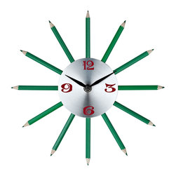 LexMod - Green Pencil Clock - Hone your creative abilities with twelve finely sharpened channels of inspiration. Actual green colored pencils help turn thoughts into writing as you develop your own flowing narrative of life. Connect insights, and time, as you inscribe reality with the gift of green and verdant contributions.