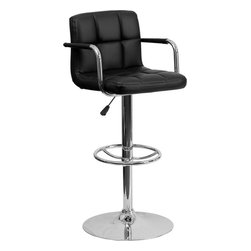 """Flash Furniture - Black Quilted Vinyl Adjustable Height Bar Stool with Arms and Chrome Base - This sleek dual purpose stool easily adjusts from counter to bar height. The simple design allows it to seamlessly accent any area in the home. Not only is this stool stylish, but very comfortable to provide you with an amazing sitting experience! The easy to clean vinyl upholstery is an added bonus when stool is used regularly. The height adjustable swivel seat adjusts from counter to bar height with the handle located below the seat. The chrome footrest supports your feet while also providing a contemporary chic design. Counter Height or Bar Stool; Black Vinyl Upholstery; Quilted Design Covering; Comfortable Seat with Mid-Back; Chrome Arms; Swivel Seat; Height Adjustable Seat with Gas Lift; Foot Rest; Chrome Base; Base Diameter: 19.5""""; CA117 Fire Retardant Foam; Designed for Residential Use; Overall dimensions: 20""""W x 18""""D x 36.75"""" - 45.25""""H"""