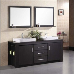 "Design Element - Design Element Washington 72"" Double Bathroom Vanity Set - Espresso - The 72"" Washington Vanity is stylishly constructed of solid veneer panels. The designer flat vessel drop in sinks and sleek cabinetry bring style and utility to any bathroom. The sinks rectangular round corner design beautifully contrast with the cabinets sleek lines and espresso finish. This vanity includes side storage, two large soft closing cabinets and three center drawers adorned with satin nickel hardware. Included are two espresso framed mirrors with shelf. The Washington Bathroom Vanity is designed as a center piece to awe-inspire the eye without sacrificing quality, functionality or durability.    Features Solid veneer panelsEspresso finish    Water resistant counter topsTwo porcelain drop in sinks with overflow drain  Faucet(s) not includedTwo chrome pop up drainsTwo espresso framed mirrors with shelfTwo side shelves and towel barsTwo soft closing cabinets and three drawersSatin nickel finish hardware Manufacturer provides 1 year warranty How to handle your counterView Spec Sheet"