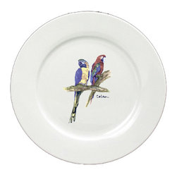 Caroline's Treasures - Parrots Round Ceramic White Dinner Plate 8600-DPW-11 - Parrots Round Ceramic White Dinner Plate 8600-DPW-11 Heavy Square Ceramic Plate 11 inches. LEAD FREE, dishwasher and microwave safe. The plate has been refired over 1600 degrees and the artwork will not fade or crack.