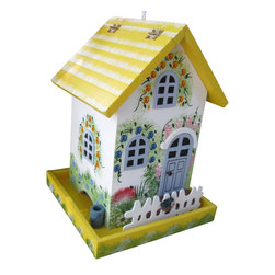 Home Bazaar Inc. - Flower Cottage Birdfeeder - Yellow - This decorative birdfeeder is fully functional and intended for outdoor use. The front has an adorable picket fence trim and is ornately decorated with hand painted floral accents and an upstairs dormer detail. The back flap opens a large cavity that you can fill with seed to gently spill out onto the base tray. The feeder will hang from the heavy duty nylon cord.
