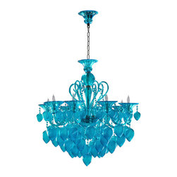 Cyan Design - Bella Vetro  Aqua Murano Glass 8 Light Chandelier - Aqua Chianti Chandelier