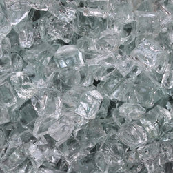 """Fire Pit Essentials - Arctic Ice Clear 1/2"""" Firepit Glass, Premium, 10 Pounds - 1/2 inch arctic ice fire glass is a beautiful addition to your fireplace or fire pit. Fireplace glass and fire pit glass are growing in popularity as ceramic logs and lava rock are becoming a thing of the past. Adding fire glass to your décor will give your entertaining areas new life and a modern look. Flames dance and flicker on luminous jewel-like glass, turning your fireplace or fire pit into a unique piece of art. Fireplace glass and fire pit glass are formulated for long-term heat consumption. It will not melt or degrade, and will last virtually a lifetime."""