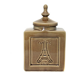 "ecWorld - Urban Designs Eiffel Paris 9"" Decorative Ceramic Accent Jar - Cracked Brown - An elegant addition to tables or counters, this beautiful lidded jar is a gorgeous addition to any home decor."