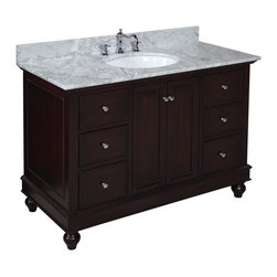 Kitchen Bath Collection - Bella 48-in Bath Vanity (Carrara/Chocolate) - This bathroom vanity set by Kitchen Bath Collection includes a chocolate cabinet with soft close drawers, Italian Carrara marble countertop, single undermount ceramic sink, pop-up drain, and P-trap. Order now and we will include the pictured three-hole faucet and a matching backsplash as a free gift! All vanities come fully assembled by the manufacturer, with countertop & sink pre-installed.