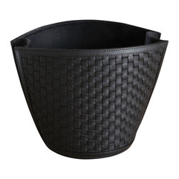 Woven Wastebasket - Black - A well-styled addition to the transitional office or bath, the Woven Wastebasket fits neatly into narrow spaces with its room-saving form inspired by chic shopping bags, while a woven wall pattern adds texture to the floor or counter. The folds of the narrower walls suggest a stylish approach to the practicalities of utilitarian rooms, a look that's easy to coordinate.