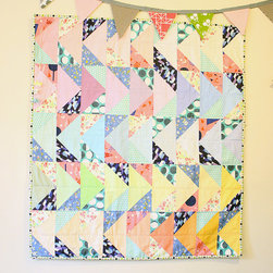 Pastel Pink and Green Baby Quilt Girl by Bold Goods - I'm totally crazy for the colors in this quilt, and the triangles make it feel very fresh, with an almost-preppy quality.