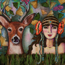 Memories Of Deer And My Forest Reign  (Original) by Jessica Sikora - This was my first painting in this series of women with their animal friends which was inspired by the artist Louis Icart. The feel and look of the woman was inspired by two of the things I love most about the women subjects in Art Nouveau pieces  their headdresses and costumes. The flora is also a tribute to my favorite organic accents in Art Nouveau  poppies and ginkgo leaves.