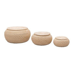 IKEA of Sweden - FRYKEN Box with lid, set of 3 - We can't talk storage without a mention of Ikea, can we? This trio is the perfect way to add some natural texture to a stark bathroom. Stash your hair ties, spare toiletries and other bits and bobs out of sight.