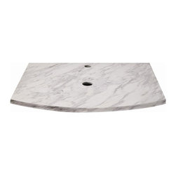 "Decolav - Lola 25 in. Marble Countertop in Bianco - 167 - Manufacturer SKU: 1677-MBI. Part of the Lola Collection. 3/4"" thick bianco marble top with curved front. Backsplash not available. Single hole faucet drilling - faucet not included. Can accommodate up to a 17"" above-counter lavatory without overflow - not included. Pair with the 5254 vanity - not included. Easy to clean using mild soap and a soft cloth or sponge. 22 in. L x 25 in. W x 0.75 in. H. Installation InstructionsDECOLAV's Lola 25 in. Marble Countertop in Bianco has a 0.75 inch curved front stone top. Features a single hole faucet drilling and can fit up to 17 in. above counter lavatory without overflow"