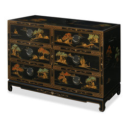 China Furniture and Arts - Chinoiserie Scenery Design Chest of Drawers - Magnificently handcrafted 18th century Chinoiserie motif on black lacquered wood, this chest has the traditional Chinese scenery and landscaping designs decorate the entire cabinet. Six large felt-lined drawers provide ample storage space. Solid brassware ideally matches the gracefulness of the cabinet's gold edges. Black matte finish.