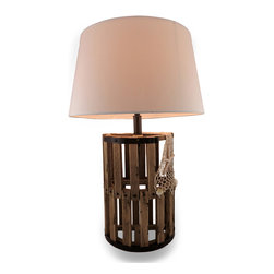 Zeckos - Wooden Lobster Trap Decorative Table Lamp - Add a touch of nautical flair to your desk, table and room with this wooden lobster trap style lamp With metal accents and highlighted with a fishing net and shell details, this oceanic lamp would look amazing in your home or office at 24 1/2 inches (62 cm) high, 9 1/4 inches (23 cm) wide, and 5 5/8 inches (14 cm) deep with a 9 inch (23 cm) high, 16 inch (36 cm) diameter plastic diffuser lined fabric shade and a 64 inch long black cord with an in-line thumbwheel switch. It uses one Type A 40 Watt or smaller bulb (not included), and would make an amazing gift for beach and nautical decor collectors.
