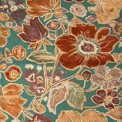 Jaipur Rugs - Transitional Floral Pattern Blue Wool/Silk Tufted Rug - BL72, 5x8 - Inspired by bold ethnic textiles and the rich hues of Indian spices, the Blue Collection encourages individual expression with a modern flare. Embellishing this mix of playful colors, some designs incorporate a raised carving effect and art silk accents. The Blue Collection combines fluid lines with highly textured hand-tufting for a look that's eye-catching, functional and quintessentially Jaipur.