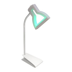 Lumisource - 2D LED Table Lamp - Fully equipped with a Color Phasing Mode and an all White Mode. This unique light provides an endless amount of possibilities for the LED illuminated lamp heads, while the fun shape adds a stylish appeal.. 5.5 in. L x 3.5 in. W x 18 in. H