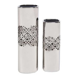 Howard Elliott with Lattice Middle Tall Square Ceramic Vases (Set of 2) - This ceramic vase set features a lattice design and is finished in a metallic nickel plate.