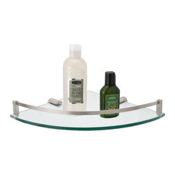 Engel Tempered Glass Corner Shelf - The classic style of the Engel Tempered Glass Corner Shelf will complement a variety of decors and bath accessories. The glass shelf is curved, adding style and extra space for storing small items. The solid brass decorative railing serves to help prevent items from falling.