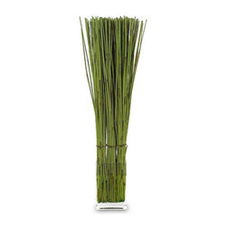 Frontgate - Artificial Grass Reed Arrangement - Rectangular glass vase is filled with acrylic that resembles water. Hand-made grass reeds are bundled to create a natural effect. Easy-care arrangement never needs watering. Our modern Artificial Grass Reed Arrangement is a refreshing alternative to a traditional floral bouquet. Groups of bundled elephant reed are paired with a streamlined glass vase to create an organic focal point for any room in your home. . . . Imported.