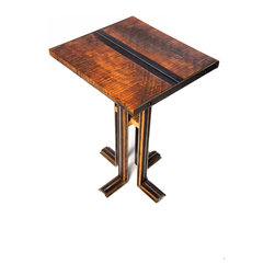 Walsworth Furnishings - Streamline Collection:  Side Table - Quilted maple top on Walsworth Furnishings Signature Streamline legs