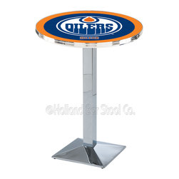 Holland Bar Stool - Holland Bar Stool L217 - Chrome Edmonton Oilers Pub Table - L217 - Chrome Edmonton Oilers Pub Table  belongs to NHL Collection by Holland Bar Stool Made for the ultimate sports fan, impress your buddies with this knockout from Holland Bar Stool. This L217 Edmonton Oilers table with square base provides a commercial quality piece to for your Man Cave. You can't find a higher quality logo table on the market. The plating grade steel used to build the frame ensures it will withstand the abuse of the rowdiest of friends for years to come. The structure is triple chrome plated to ensure a rich, sleek, long lasting finish. If you're finishing your bar or game room, do it right with a table from Holland Bar Stool.  Pub Table (1)