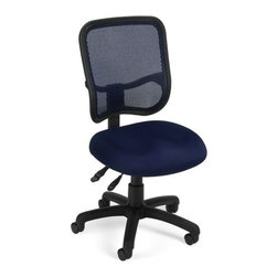 OFM - OFM Comfort Series Ergonomic Mesh Task Chair - Comfy Seat, Navy - This modern ergonomic task chair features a mesh back to keep you cool and ergonomic adjustments to keep you comfortable. The breathable mesh back adjusts in height and pitch instantly for day-long comfort. The seat pitch adjusts and there is even built-in adjustable lumbar support! Optional arms adjust for total ergonomic comfort. The modern design is perfect for any office or home office environment.