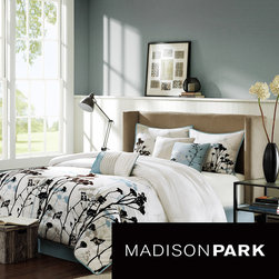 Madison Park - Madison Park Kira 7-piece Comforter Set - Lighten up the bedroom with the Madison Park Kira Collection. This beautiful set is made from a polyester microfiber with a printed shadowy floral black flocking on the design and a brushed polyester reverse.