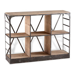 Kathy Kuo Home - Newberg Industrial Loft Modern Wood Steel Standing Shelf - Spare, almost raw utility is celebrated in the Newberg storage console. Perfect for industrial  lofts and home offices, project rooms and more - this minimalist piece can accommodate plenty on its generous shelves.
