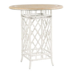 Lexington - Tommy Bahama Island Estate Hamptons Bistro Table Base - The chippendale influence on the leather wrapped rattan base is easily distinguished but the special feature of this bistro or table base is the 6 inch section just below the top allowing it to be used with the counter or bar stools, depending on your preference.