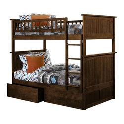 Atlantic Furniture - Nantucket Bunk Bed Twin Over Twin / Flat Panel Drawers / Antique Walnut - This Nantucket Bunk Bed Twin Over Twin with 2 Flat Panel Bed Drawers in Antique Walnut is designed with security in mind, featuring unique fastening systems, a sturdy fastened ladder. Compliment your Nantucket kids bedroom look by adding an assortment: Windsor nightstand, Hutch and Desk.