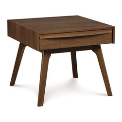 Inova Team -Rustic Solid Black Walnut Side Table - Constructed from American black walnut, this durable accent table merges contemporary stylings with a hip, retro flair. Use it as a nightstand, in the foyer for greeting guests and collecting mail, or anywhere, really. Its single drawer provides ample storage.