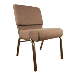 Flash Furniture - Extra Wide Church Chair w Thickly Padded Seat - Easily create multiple rows of comfortable group seating with this terrific Hercules upholstered chair with extra-wide seat and back. Thick luxurious padding in the back and waterfall-style seat makes this chair easy on your legs and spine as you sit. The durable steel frame is built to last and features a stylish gold vein finish that will enhance any decor. It features a handy back storage pouch, and is available in your choice of two durable fabrics. The HERCULES Church Chair frame has been tested to hold 800 lbs.. 21 in. wide fabric church chair. Extra thick 4 in. seat cushion. Waterfall edge. Thickly padded seat and back. Plum fabric upholstery. Rear-facing book pouch on chair back. 16 Gauge steel frame. Gold Vein frame finish. Ganging brackets. Pictured in Plum